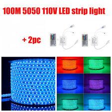 5050 SMD 60 LED Strip Light RGB 100M 110V High Voltage IP65 + 2pcs IR Controller