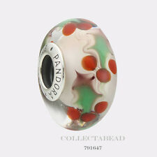 Authentic Pandora Sterling Silver Murano Christmas Holly Bead 791647