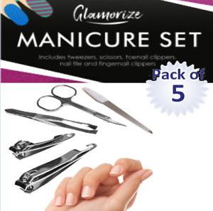 5PC Manicure Set Nail Care Tweezers scissors Toenail Finger Clippers Nail File