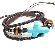 Bracelet - Brown Leather Bracelet With turquoise Cross - ADJUSTABLE Bracelet
