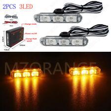 Amber Yellow 2X 3 LED Car Truck Emergency Warning Strobe Flashing Light Bar 12V
