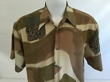 Patrini USA Vintage Button Front Shirt Large Beige Abstract Poly Dart Collar