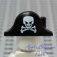 LEGO Minifig Black PIRATE BICORNE White Skull Cross Bones Captain Head Gear Hat