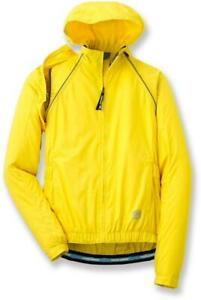 NOVARA Womens Sz M Yellow Hooded Water Resistant Conversion Cycling Jacket Vest