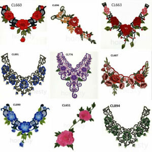 Blue C 1pcs Craft Collar Sequin Floral Embroidered Applique Trim Decorated Lace Neckline Collar Sewing Accessories