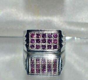 NATURAL AAA AFRICAN RUBY 12 GRAMS SILVER MEN SIGNET COCKTAIL RING FATHER'S DAY