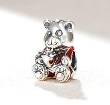 😍 PANDORA 😍silver bead CHARM 797564enmx Christmas bear teddy toy kids new