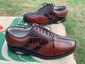 Footjoy Classics Tour Men's Size 10.5 D Brown Leather Black Reptile Golf Shoes