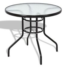 Outdoor garden Patio Round Table Steel Frame Dining Table Water wave glass Metal