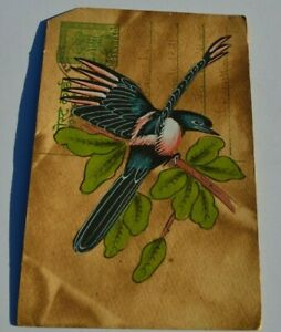 A LOVELY OLD RAJASTHAN MINIATURE PAINTED INDIAN POSTCARD  A MAGPIE NO30