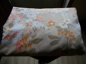 Full Floral Fitted Sheet Tan Orange Brown