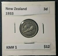 New Zealand 1933 Threepence 3d KM# 1   #333