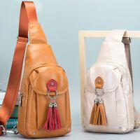 100% Genuine Leather Women's Crossbody Bag Chest Bag Sling Backpack Shoulder Bag