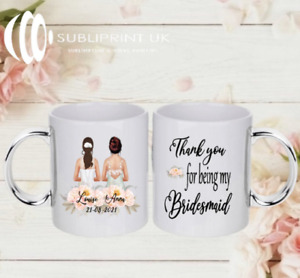 Bride / Bridesmaid / Maid of Honour Wedding Personalised Gift Mug - Two Person