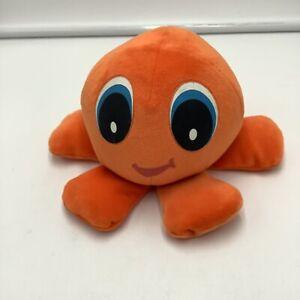 "Six Flags Orange Octopus Plush Soft Toy Stuffed Animal 6"""