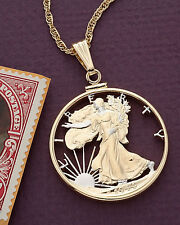 "Walking Liberty Half Dollar Pendant & Necklace Hand Cut Coin 1-1/8""Dia.( # 323 )"