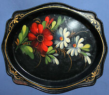 Vintage Soviet Russian Metal Hand painted Floral Serving Tray