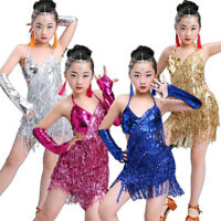 Girls Sequin Professional Latin Salsa Cha Cha Ballroom Dance Dress Costumes