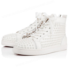NEW Christian Louboutin Yang Louis Flat White Silver Spike Stud High Top Sneaker