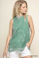 Umgee Dusty Mint Floral Embroidered Lace Sleeveless Top