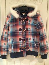 NWOT O'Neill Women Orange Blue White Plaid Hooded Jacket Coat Size L Cute!