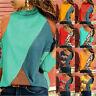 Women Long Sleeve Color Block Geometric Leopard Print Casual Shirt Blouse Tops