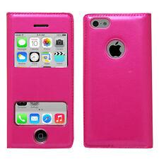 Accessoire Housse Etui Coque Pochette Plastique View Case ROSE Apple iPhone 5C