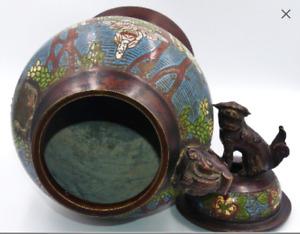 Chine Vase couvert ebronze emaux cloisonnés a decor de frise d'éléphant