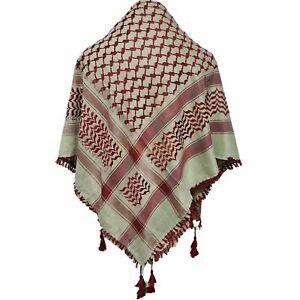 Shemagh Arab Head Scarf Wrap Arafat Keffiyeh Yashmagh Burgundy+Fringes