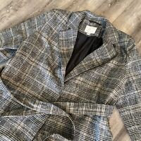 A NEW DAY Women's Belted Overcoat Plaid  Gray Size Large Notched Lapels