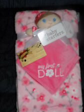 BLANKET & SECURITY MY FIRST DOLL SALMON PINK LOT 2 BROWN HAIR CHERRY BLOSSOM