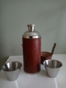 Remy Martin Real Leather Hip Flask and 2 cups VGC