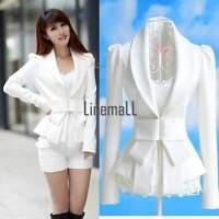Womens OL Coat Career Tops Western Suit Blazer Jacket White Slim Big Bowknot LM