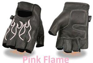 Black Leather FINGERLESS Gloves PINK FLAMES Gel Palm Motorcycle Biker Rider