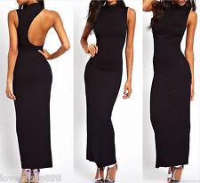Round neck One shoulder Open back Long Maxi Party Evening Dress Bodycon Medium