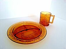 Tiara Indiana Glass Amber Mother Goose Nursery Rhyme Child Divided Plate Cup