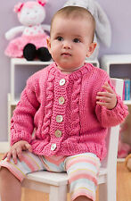 Knitting Pattern -Baby (Unisex) Crew Cable Cardi (4 sizes 6mths-2yrs) PO286