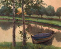 Dusk Creek Boat Landscape Oil painting Art Giclee Printed on Canvas P587