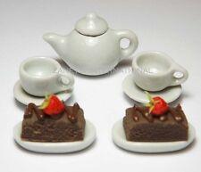 Dollhouse Miniature White Ceramic Tea Set & Food * Doll Mini Cups Teapot Cakes