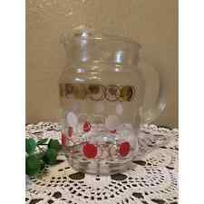 Vintage Federal glass red white gold atomic dots pitcher,Mcm retro 1960's juice