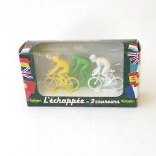 Ancien jouet-Boite de 3 cyclistes L'échappée 3 coureurs marque française L'ETAPE
