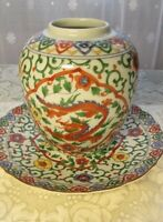 Vintage OMC Red Dragon and Colorful Floral Vase & Plate Decorative Asian Art
