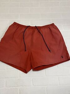 Mens Ralph Lauren Polo Sport Swim Trunks Swim suit Sz L Red mesh Lined Pockets