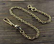 22 inch SKULL Hook Biker Wallet Chain Solid Brass Vintage Clasp Keychain