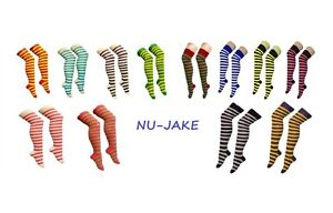 Ladies Over The Knee Fancy Dress Party Stripey Striped Socks Variety Colours Emo