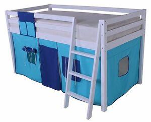 Mid Sleeper Children's Bed Cabin Bed Loft Bunk Bed Wooden White 2 tone blue