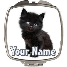 BLACK KITTEN CAT PERSONALISED LADIES / GIRLS HANDBAG COMPACT MIRROR - NAMED GIFT