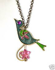 Colorful Enamel Bird Birdie Song Pendant & Necklace, Handcrafted Jewelry Israel