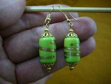 bead dangle gold earrings lampwork (Ee504-76) Lime green cylinder swirl glass