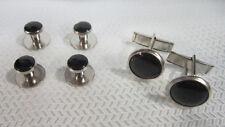 New Black & Silver Tuxedo Stud & Cufflink Set Cufflinks Catering Bargain Cheap